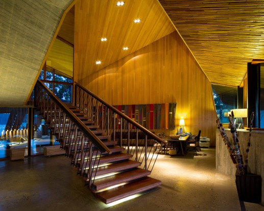 Tierra Chiloe's architecture is striking inside and out.