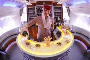 The cocktail bar at the tail-end of Emirates' A380 upper deck.