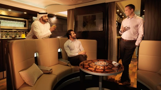 Etihad Airways' A380 offers a lounge and bar called The Lobby.