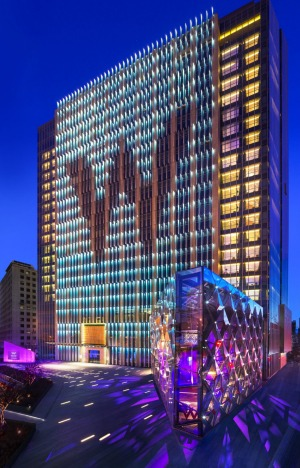 W Beijing Hotel Chang'an rises cheerfully from an otherwise bland landscape.