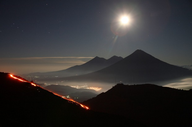 Pacaya, Guatemala: Easily accessible from Antigua or Guatemala City, this 2500 metre cone has been in a moderately ...