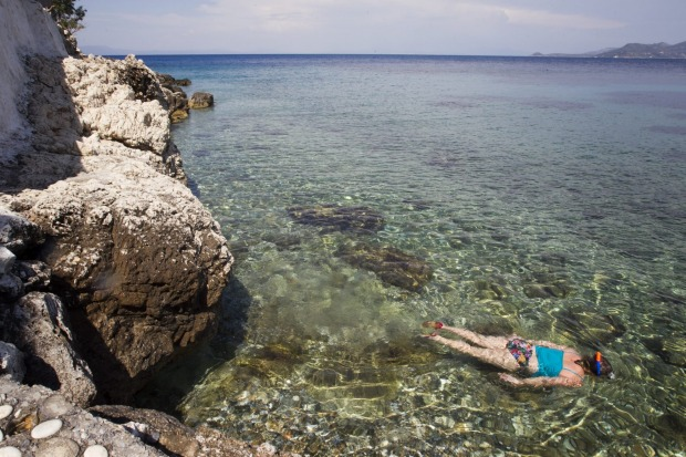 The clear waters of the Aegean Sea surrounding Greece's Dodecanese islands are beautiful for swimming and snorkelling in.