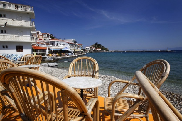 A cafe spot in the village of Kokkari on The Greek island of Samos.