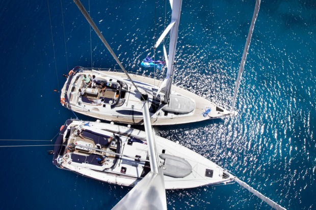 Yachts anchored in the shallows of the Agean Sea off the coast of Turkey.  tra27greece