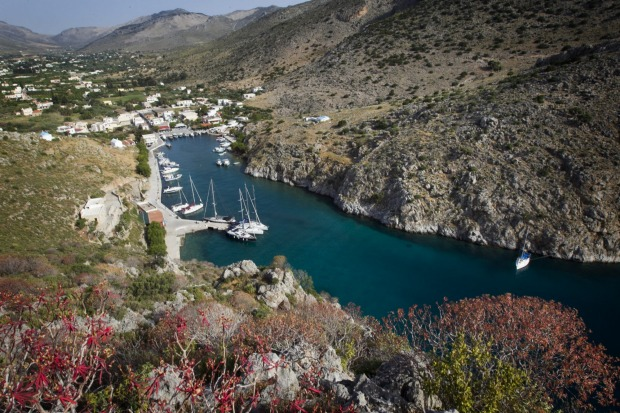 The hill above the village of Vathi on the Greek island of Kalymnos offers a wonderful aspect to the narrow fjord. The ...