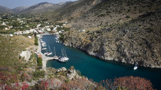 The hill above the village of Vathi on the Greek island of Kalymnos offers a wonderful aspect to the narrow fjord.