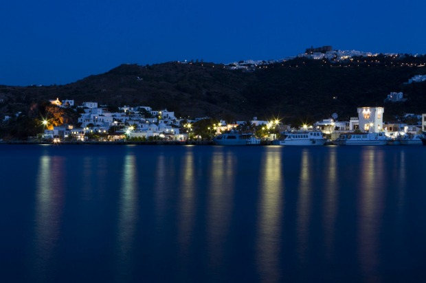 The main town on the island of Patmos, Greece, comes alive in the evening, with bars and restaurants skirting the ...