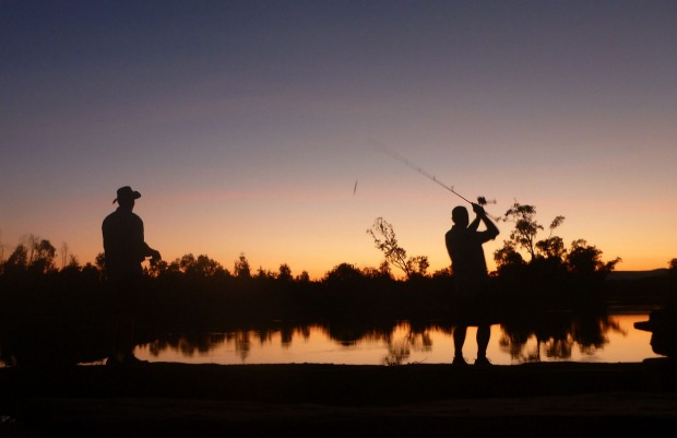 Colin and Mark fishing.