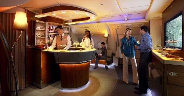 Stretch your legs with a visit to the bar on Emirates A380 Business Class.