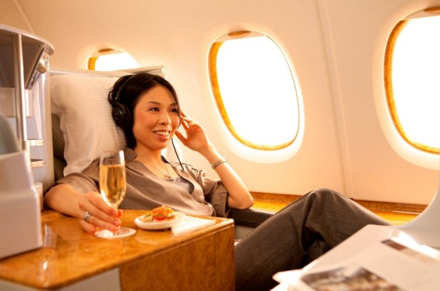 Settle back into the comfortable, spacious seats on Emirates A380 Business Class.