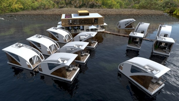 Luxury floating hotel with private catamaran: Each apartment is designed as a catamaran which means it can be separated ...