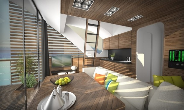 Luxury floating hotel with private catamaran: The catamaran pods feature a salon, a galley, a bathroom, a hall with ...