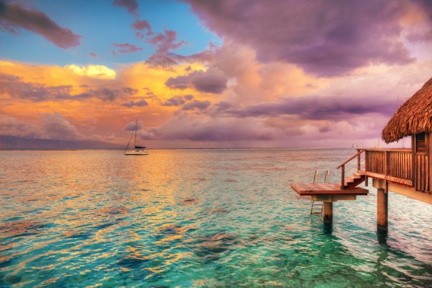 The dreamy thatched hut on stilts hovering over the lagoon was 'invented' in Moorea by a trio of Californian guys, known ...