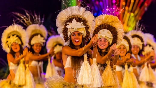 A dance group performs during the Heiva i Tahiti cultural festival in Papeete.