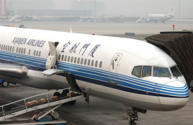 A Xiamen Airlines plane at Capital Airport in Beijing.