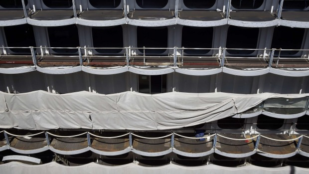 Passenger cabins on Harmony of the Seas under construction at the STX Les Chantiers de l'Atlantique shipyard site in ...