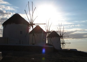 The Mykonos windmills are an iconic feature of the Greek island.