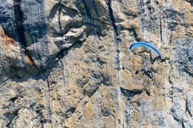 A base jumper at Lauterbrunnen.