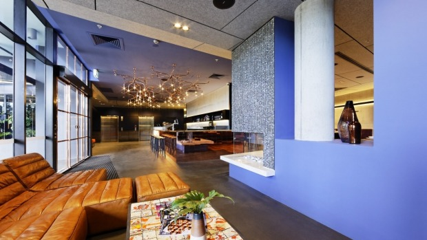 Striking use of colours in the Alpha Mosaic Hotel.