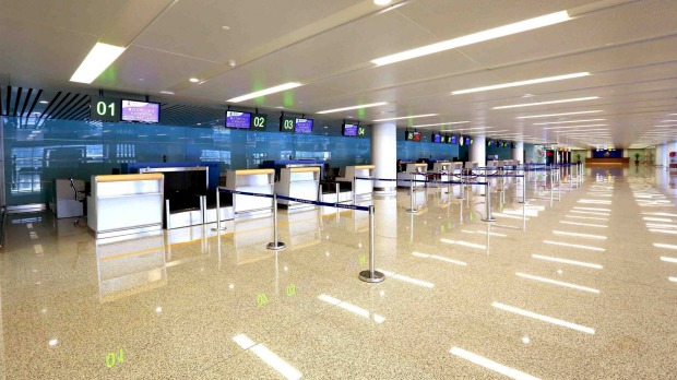 The new terminal of Pyongyang International Airport features 12 check-in counters.