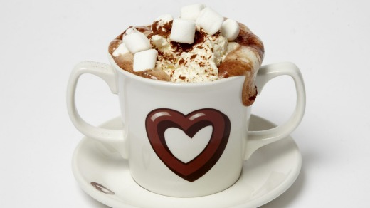 A decadent hot chocolate at York's Chocolate Story is piled high with marshmallows.