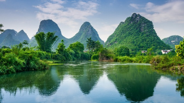 Yangshuo, China Karst Mountain landscape.