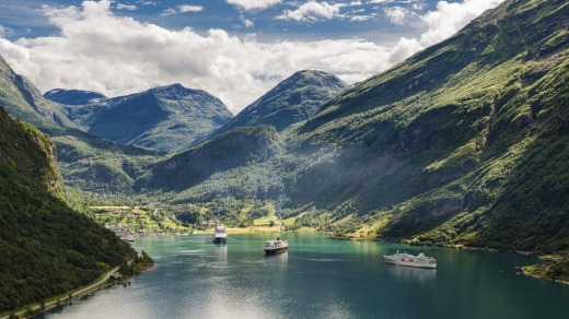 A cruise ship visits Norway's Geirangerfjord.