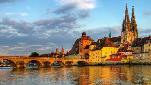 Regensburg sits on the confluence of the Danube, Naab and Regen rivers in Germany.
