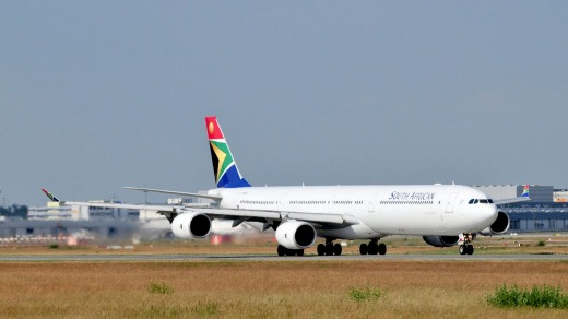 The seats are old but comfortable on the South African Airways Airbus A340-600.