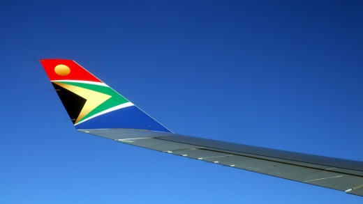 The South African l flag is represented on the winglet of a South African Airways Airbus A340 600.