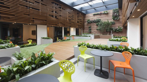 The relaxing internal courtyard at the Jasper Hotel.