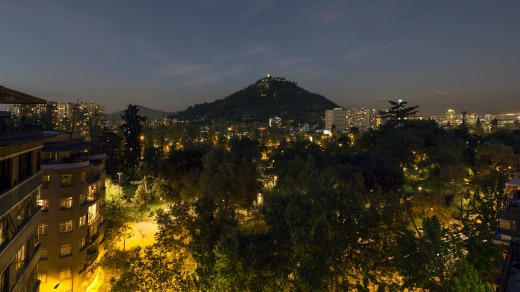 The Singular hotel looks out over Santiago.
