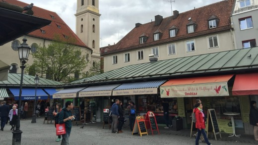 Shopping for food from stallholders is a pleasure in Munich.