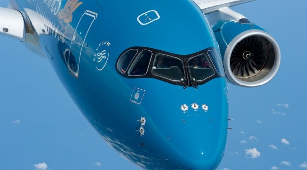 Vietnam Airlines' Airbus A350 XWB: The aircraft's design promises a 25 per cent reduction in fuel burn and emissions.