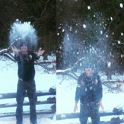 Snow ball fight.