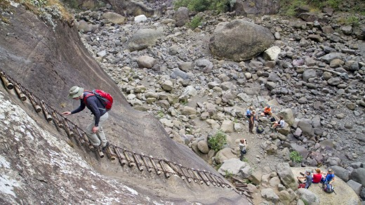 Chain ladder in the Amphitheatre in South Africa's Drakensberg Mountains.