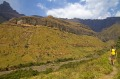 Hiker above the Tugela River in the Amphitheatre tra10-walksthafrica Amphitheatre3 Photo: Andrew Bain