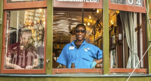 A conductor in the famous old Street car St. Charles line in New Orleans.