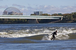 Surfing the rapids in Montreal.