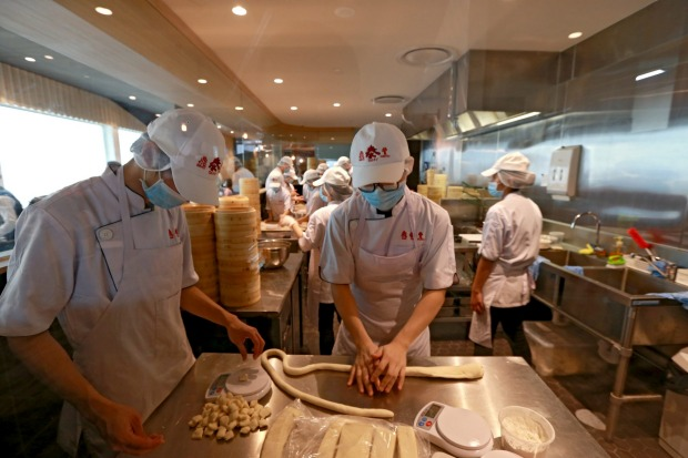 The central dumpling kitchen at Din Tai Fung at Emporium Melbourne.