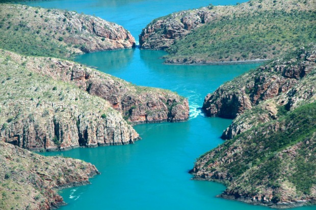 Known as the Horizontal Waterfalls, this ocean phenomenon is the result of one of the world's highest tidal shifts ...