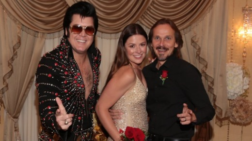 The happy couple, and Elvis.