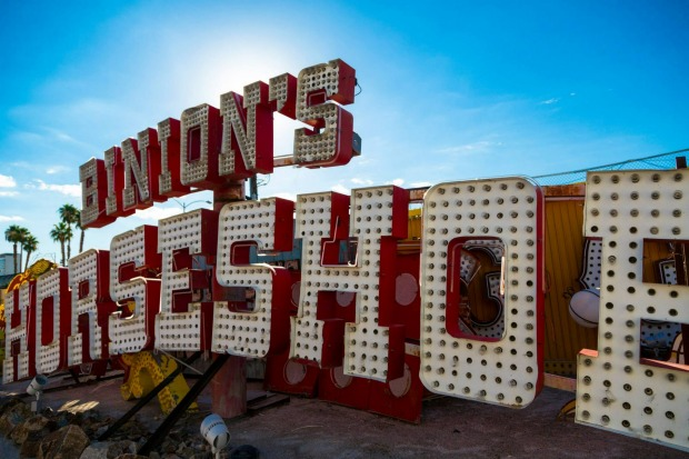 Old signs at the Neon Boneyard, Las Vegas. Binion's Horsehoe was a casino on the Fremont Street Experience in Downtown ...
