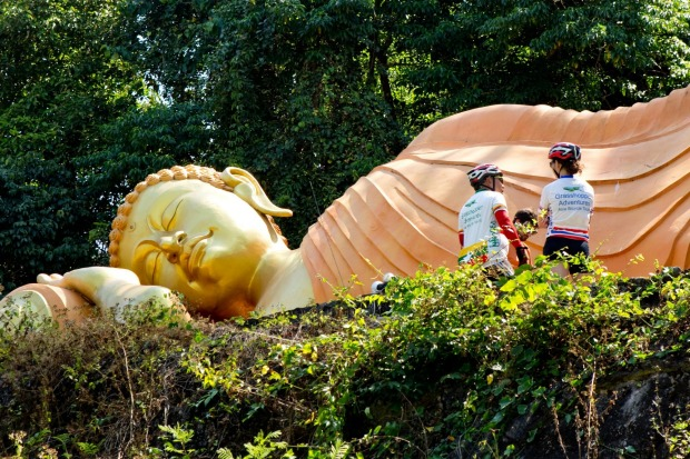 The route takes in many local sites of interest, such as this giant Buddha statue.