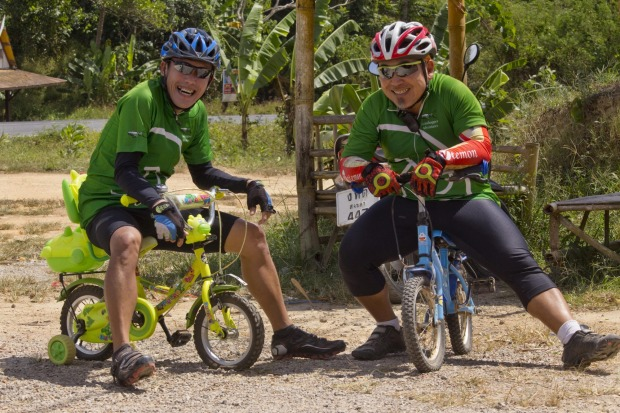 Our guides, Woody (L) and Tick, try out some new wheels.
