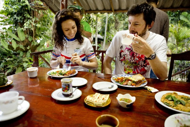 Hearty breakfasts are the order of the day when you're facing up to 80km of riding.