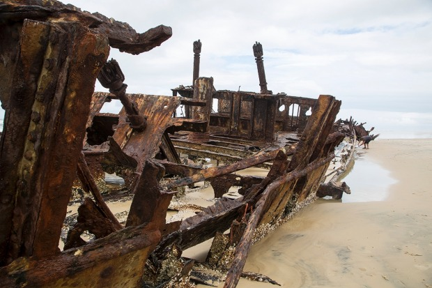 Not much left of the SS Maheno, as the tide washes over it every day.