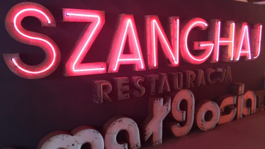On a restaurant sign - Szanghaj is spelt out in capital letters almost a metre high.