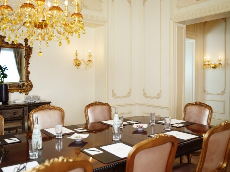 The Plaza Hotel, New York: The Royal Plaza Suite board room set-up.