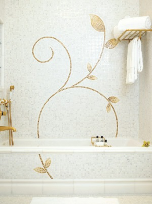 The Plaza Hotel, New York: Earth stone mosaics featured in the bathroom of a Guest Room.